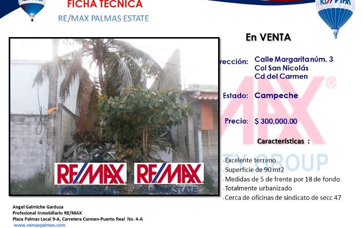 Foto de terreno habitacional en venta en  , san nicol?s, carmen, campeche, 1632698 No. 01
