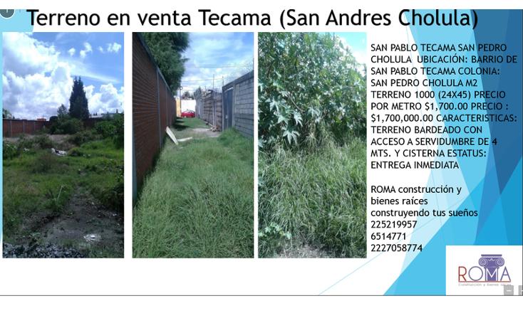 Foto de terreno habitacional en venta en  , san pablo tecamac, san pedro cholula, puebla, 1452327 No. 05