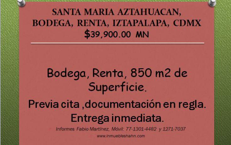 Foto de bodega en renta en, santa maría aztahuacan ampliación, iztapalapa, df, 2037052 no 01