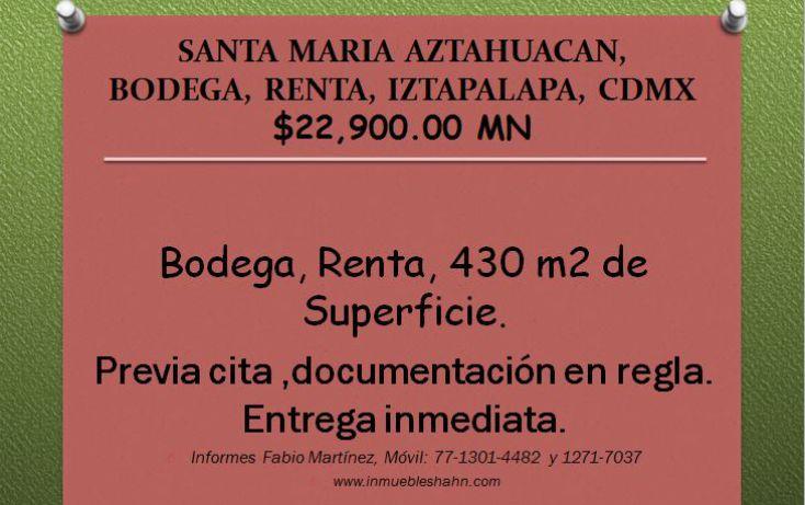 Foto de bodega en renta en, santa maria aztahuacan, iztapalapa, df, 1128287 no 01
