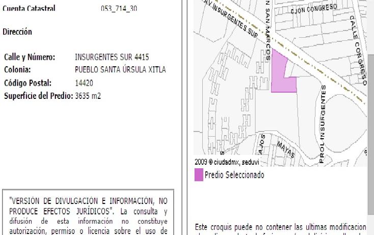 Foto de terreno habitacional en venta en  , santa úrsula xitla, tlalpan, distrito federal, 1480123 No. 03