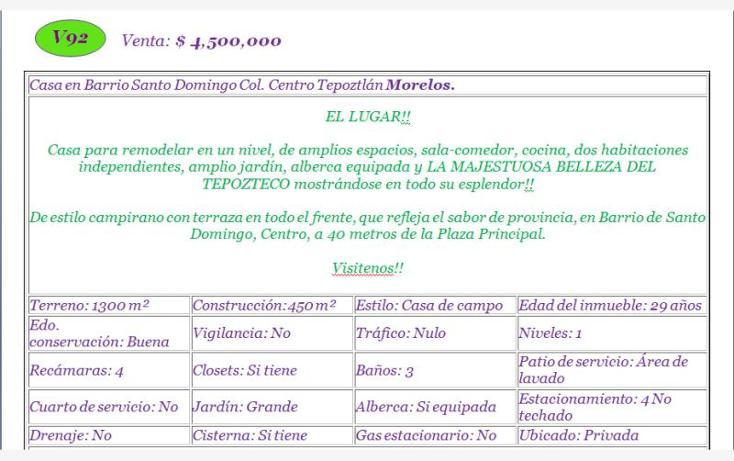 Foto de casa en venta en  , santo domingo, tepoztlán, morelos, 1610294 No. 02