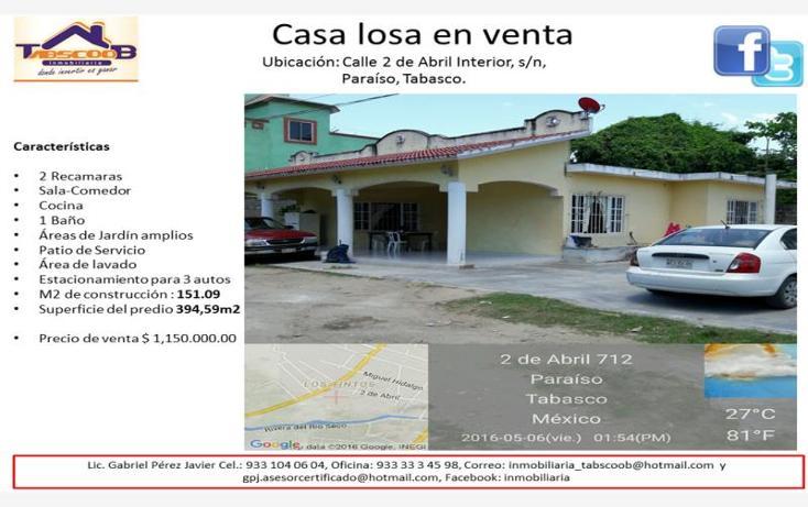 Foto de casa en venta en  sin numero, paraíso centro, paraíso, tabasco, 1903682 No. 01