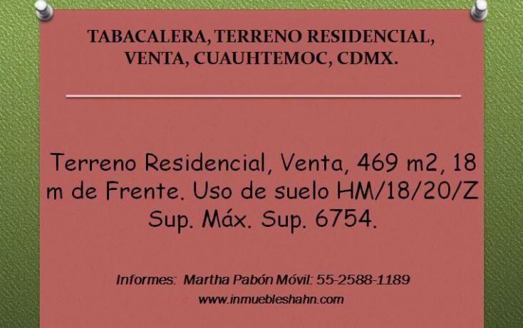Foto de terreno habitacional en venta en, tabacalera, cuauhtémoc, df, 1065923 no 01
