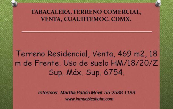 Foto de terreno comercial en venta en, tabacalera, cuauhtémoc, df, 1086919 no 01