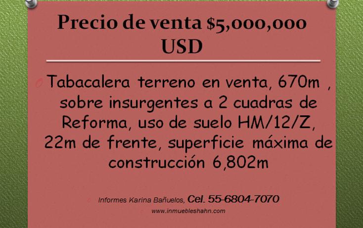 Foto de terreno habitacional en venta en  , tabacalera, cuauhtémoc, distrito federal, 1852846 No. 01