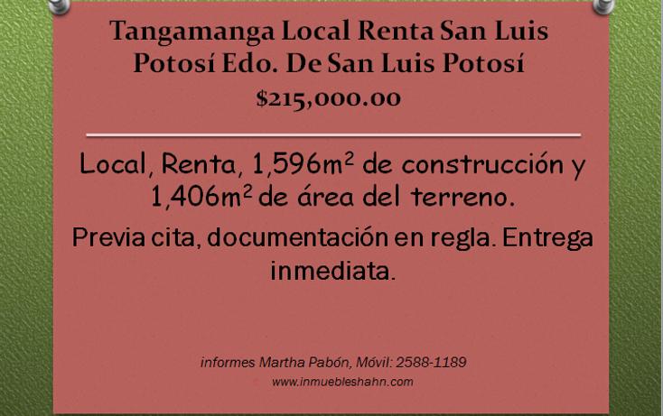 Foto de local en renta en  , tangamanga, san luis potosí, san luis potosí, 1087619 No. 01