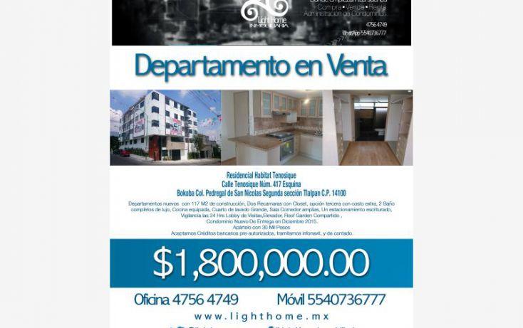 Foto de departamento en venta en tenosique 417, pedregal de san nicolás 1a sección, tlalpan, df, 1596372 no 01