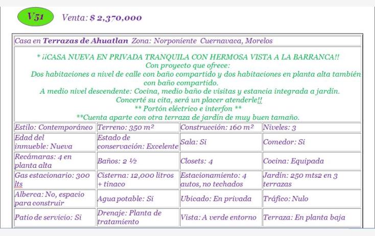 Foto de casa en venta en  *, terrazas ahuatl?n, cuernavaca, morelos, 620631 No. 02
