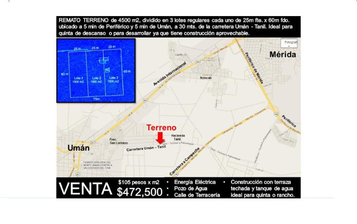 Foto de terreno habitacional en venta en  , uman, umán, yucatán, 1264215 No. 02