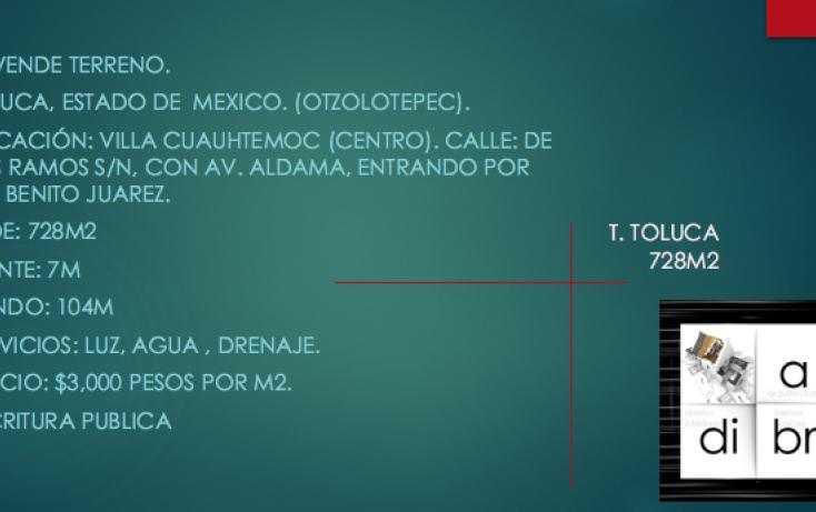 Foto de terreno comercial en venta en, villa cuauhtémoc, otzolotepec, estado de méxico, 2004268 no 01