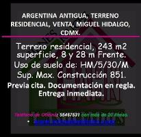 Foto de terreno habitacional en venta en  , argentina antigua, miguel hidalgo, distrito federal, 2805349 No. 01