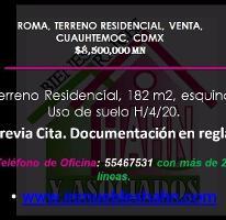 Foto de terreno habitacional en venta en  , roma norte, cuauhtémoc, distrito federal, 4225899 No. 01