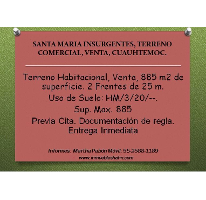 Foto de terreno comercial en venta en  , santa maria insurgentes, cuauhtémoc, distrito federal, 2634605 No. 01