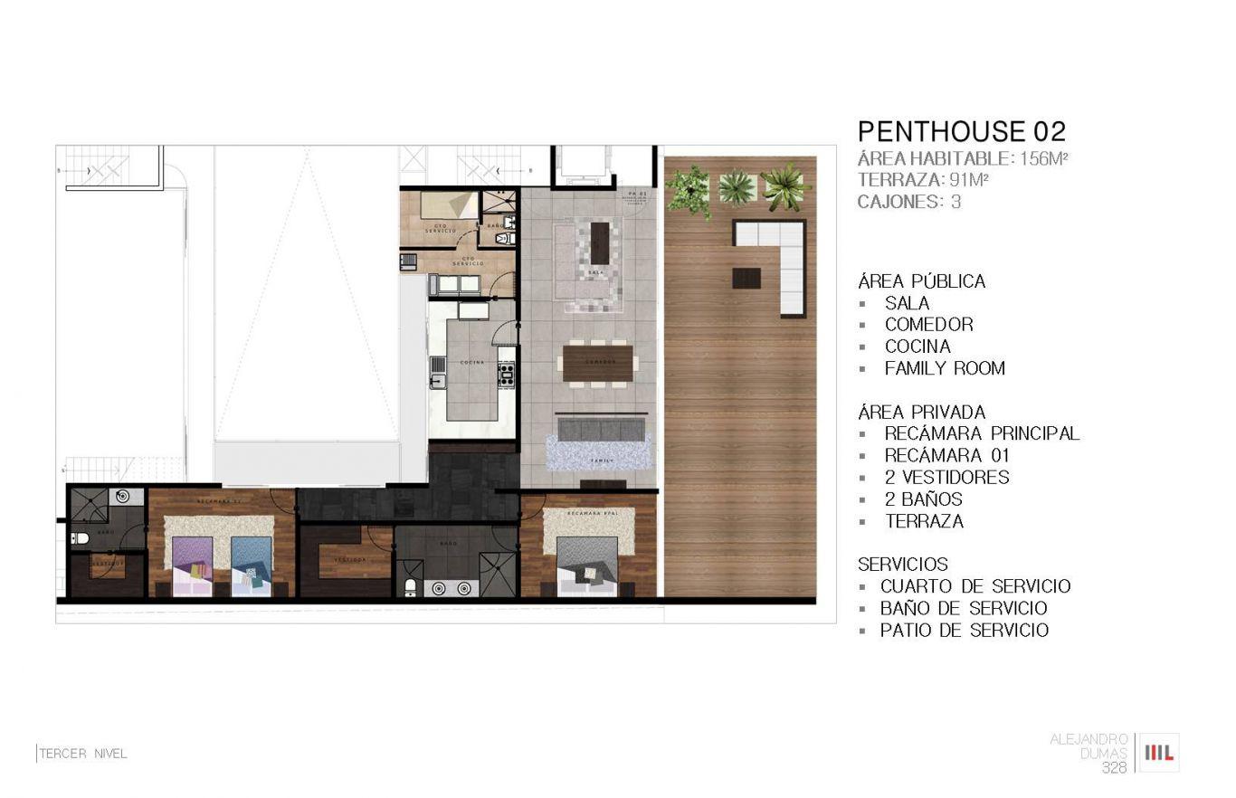 Dumas 328, id 2364171, no 1, plano de penthouse 2 , 778