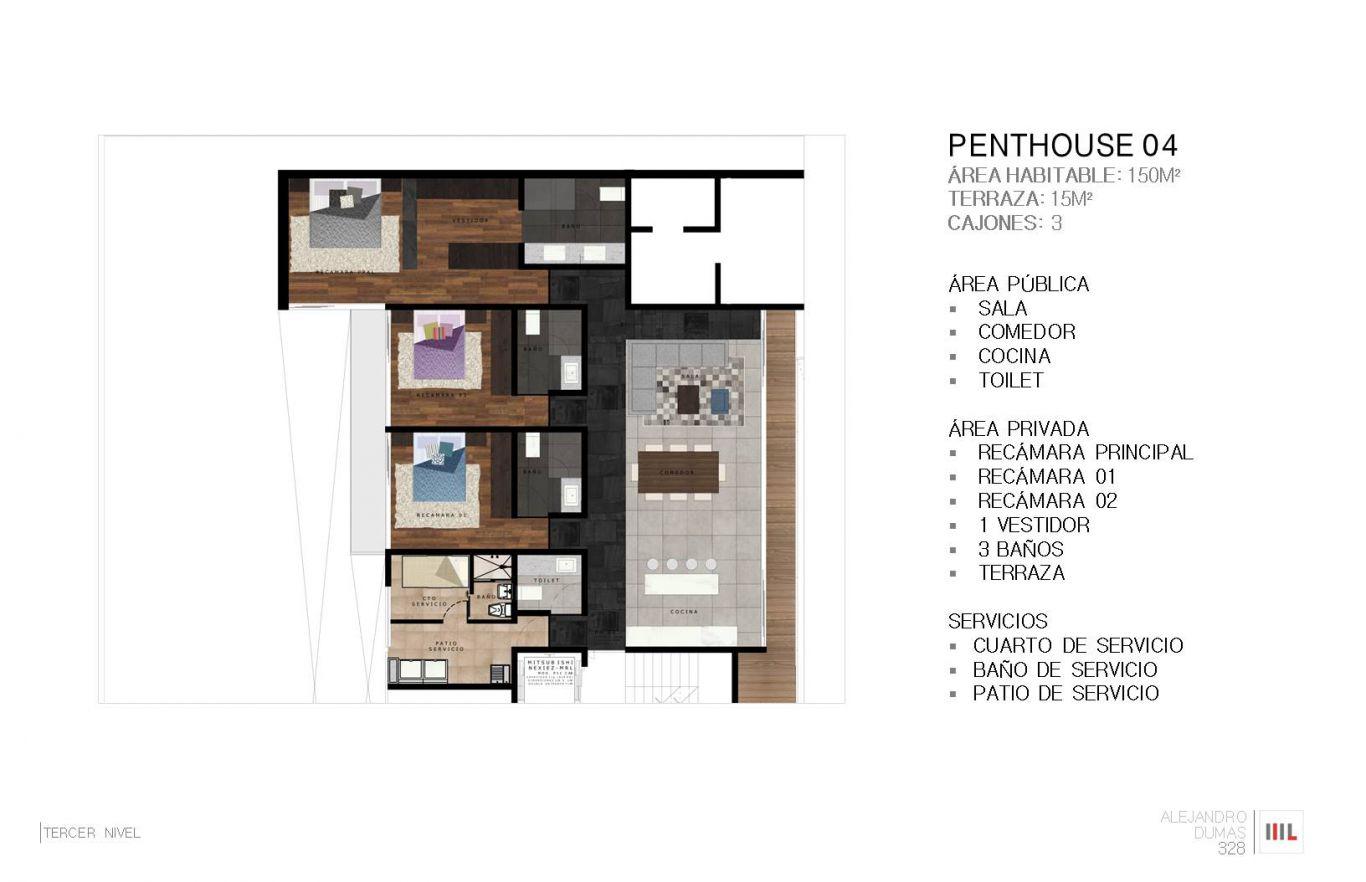 Dumas 328, id 2364171, no 1, plano de penthouse 4 , 782