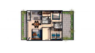Mitla 390, id 9346365, no 1, plano de garden house 104, 3145