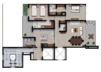 Id vertical bellavista, id 4257927, no 1, plano de piso tipo master c, 1216